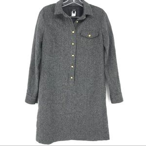 J Crew Herringbone Shirt Dress Grey Long Sleeve